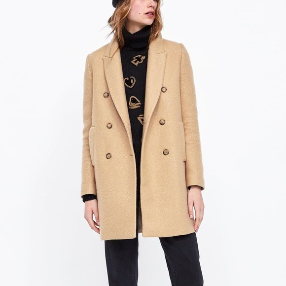boy the sale of shoes newest Zara light camel double breasted pea coat NWT